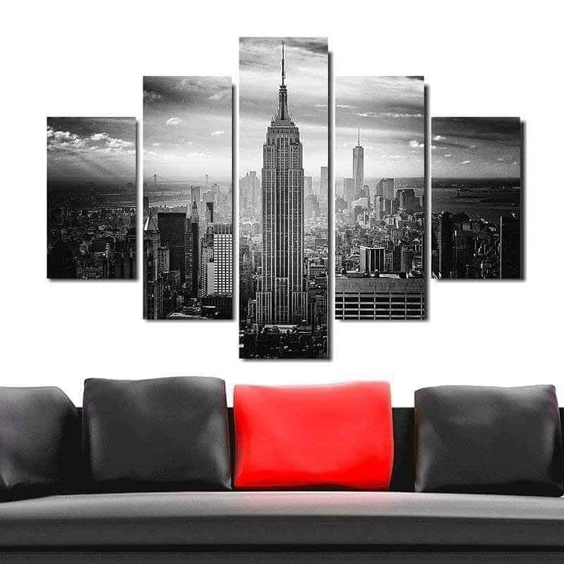 Quadro Painel Mosaico Decorativo 5 Pçs Empire State New York