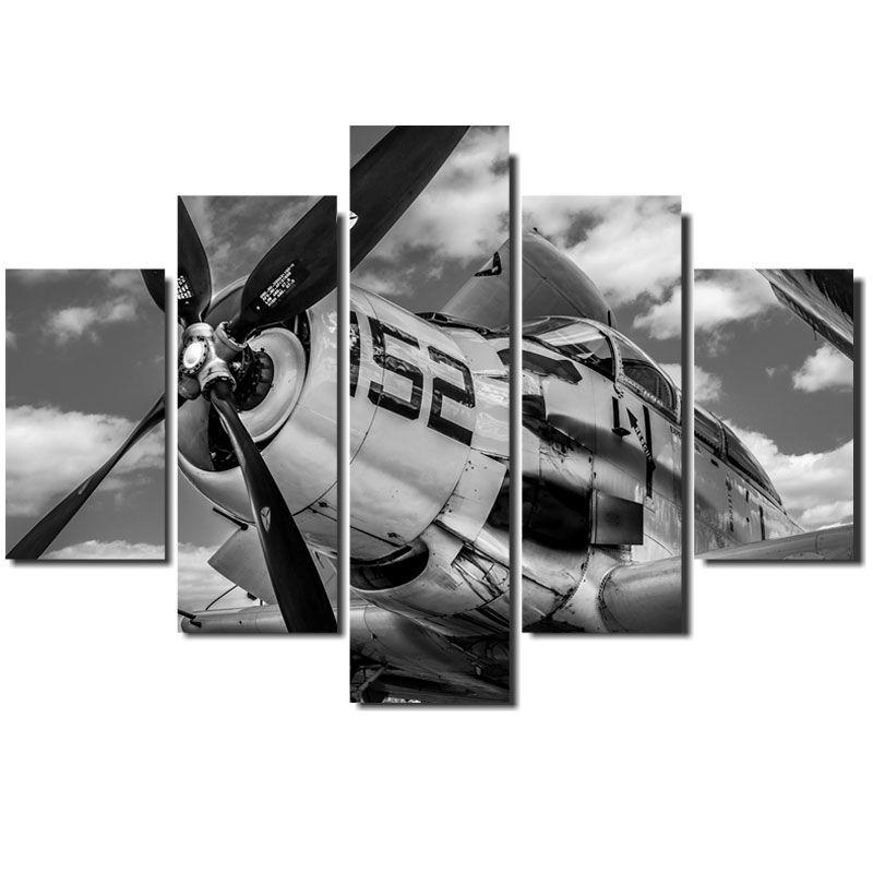 Quadro Painel Mosaico  Decorativo 5Pçs Avião Exp.152