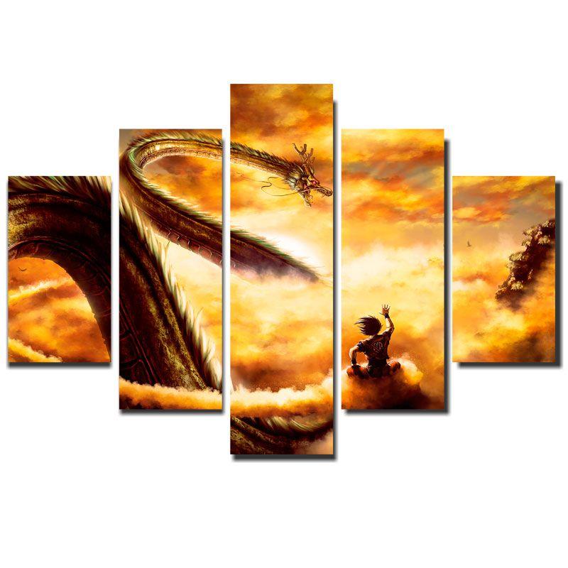 Quadro Painel Mosaico Decorativo 5Pçs Dragon Ball Shenlong