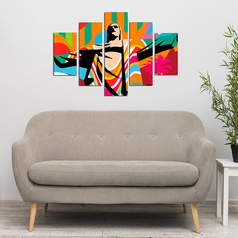 Quadro Painel Mosaico Decorativo 5Pçs Jesus Cristo Redentor
