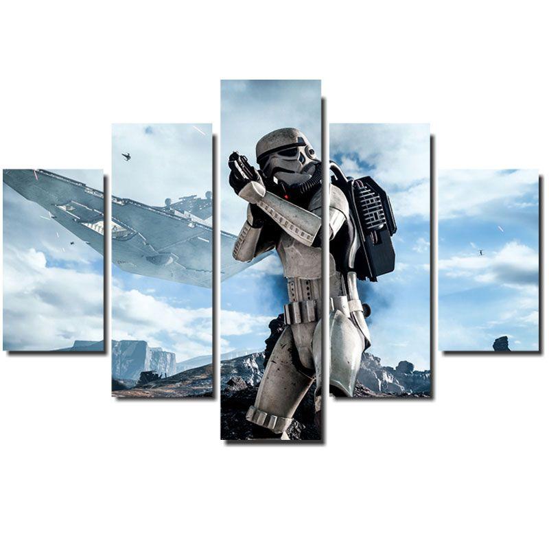 Quadro Painel Mosaico Decorativo 5Pçs Star Wars Stormtrooper