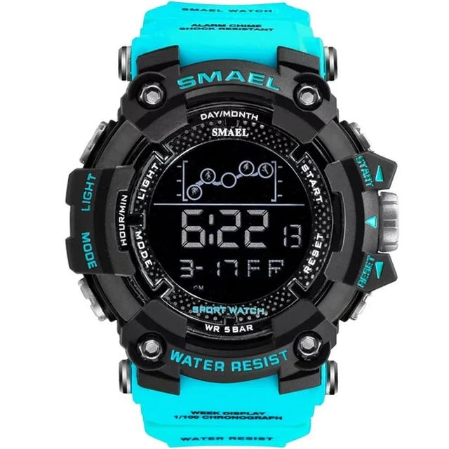 Relogio Masculino Militar Smael Digital Light Blue