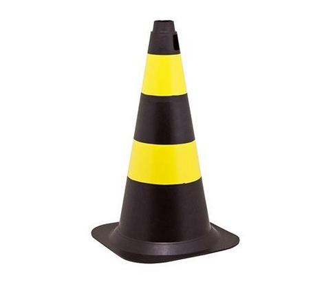 Cone 50cm Rígido Preto/Amarelo
