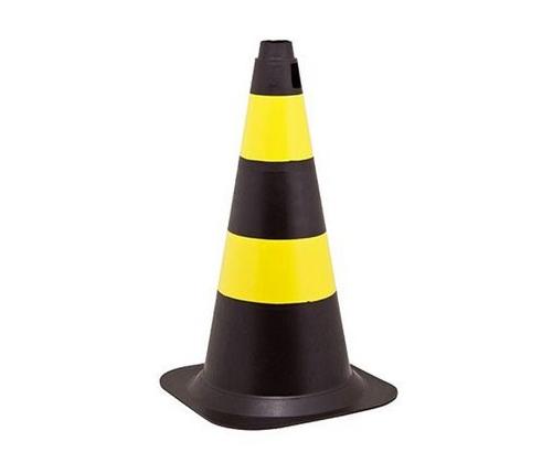 Cone 75cm Rígido Preto/Amarelo