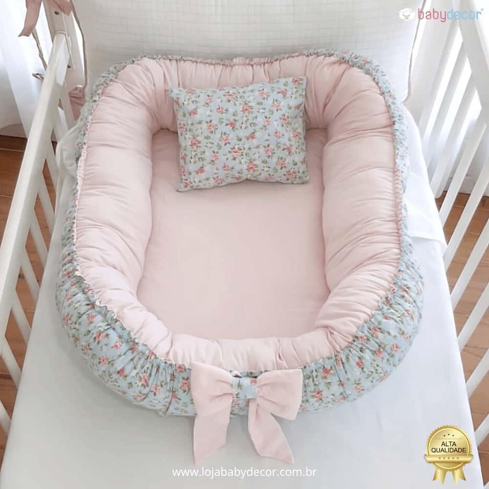 Ninho de bebê redutor de berço  acolchoado com travesseiro floral tiffany e rosa bebê