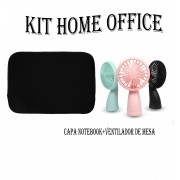 Kit Home Office Capa Para Notebook E Mini Ventilador