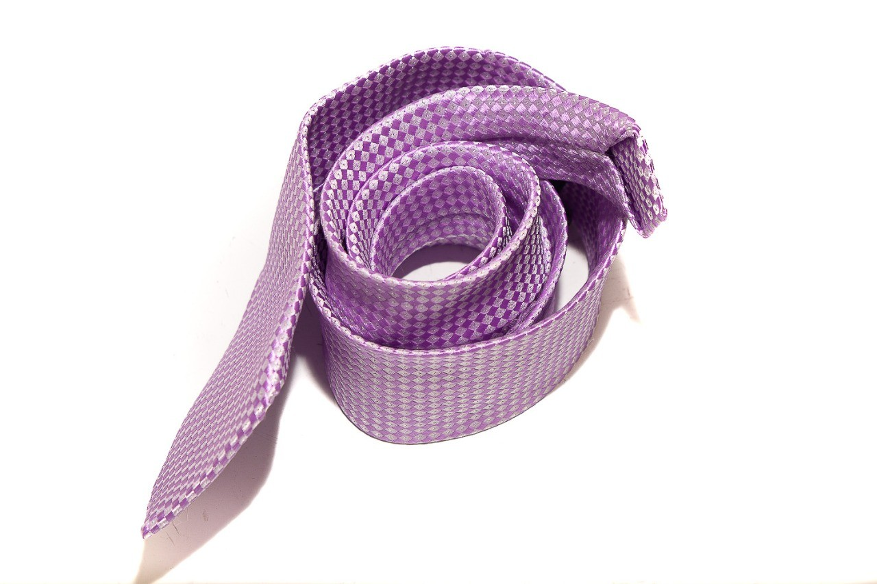 Gravata lilás com retângulos lilás claro e escuro - Tradicional  -  Mothelucci Loja online