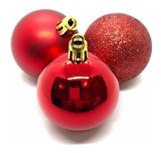 Kit 15 Bolas De Natal Misto Vermelhos 4cm