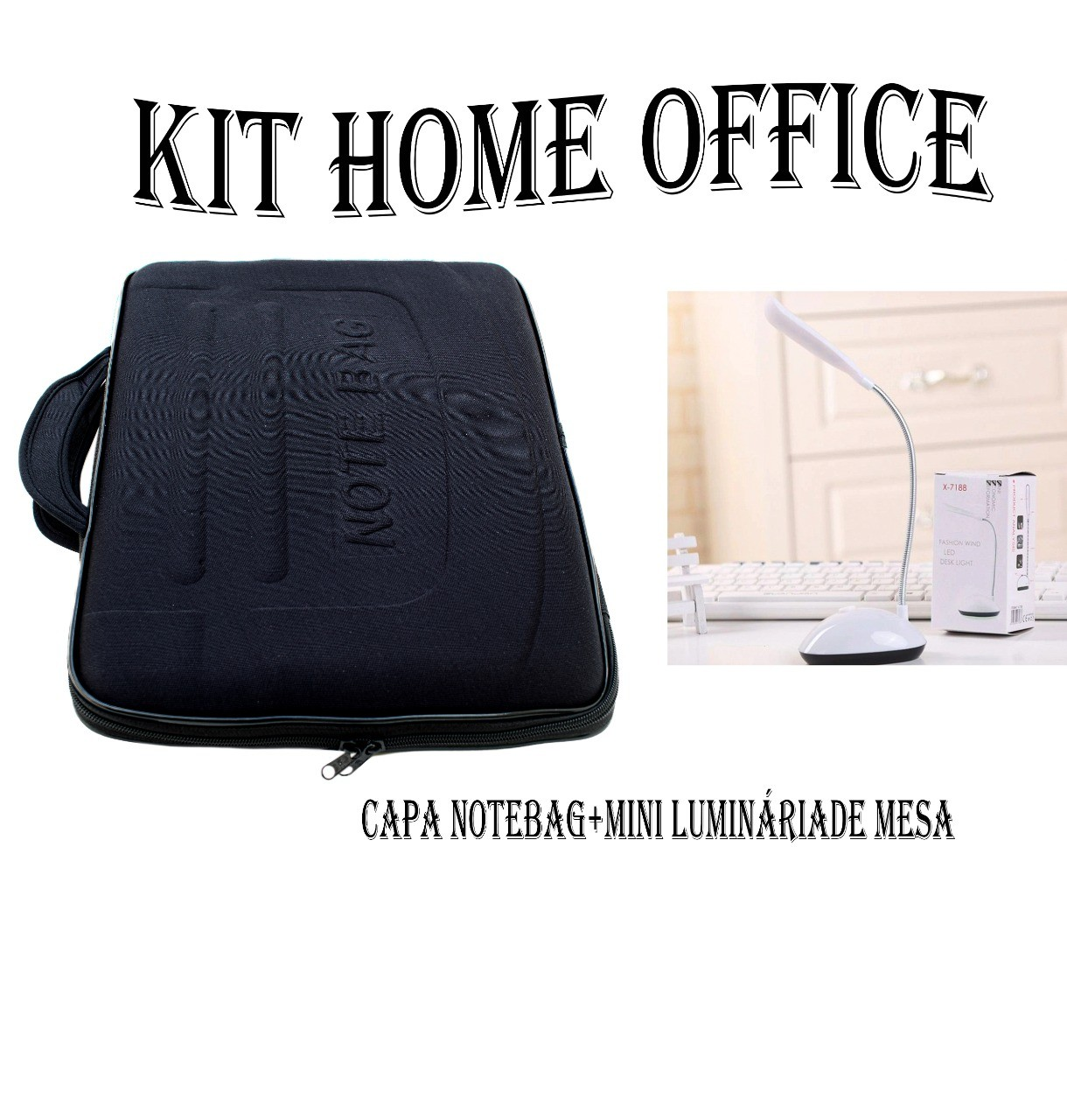 Kit Home Office Capa Case Maleta Para Notebook E Luminária De Mesa Led