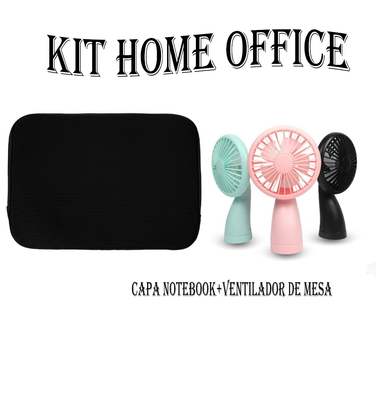 Kit Home Office Capa Para Notebook E Mini Ventilador
