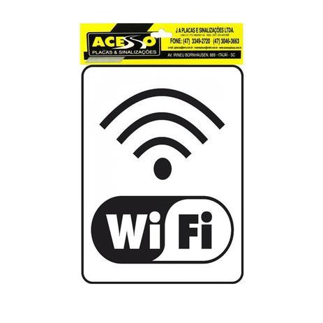 Placa para Sinalização Informativa Wifi Branco 15x20cm Acesso