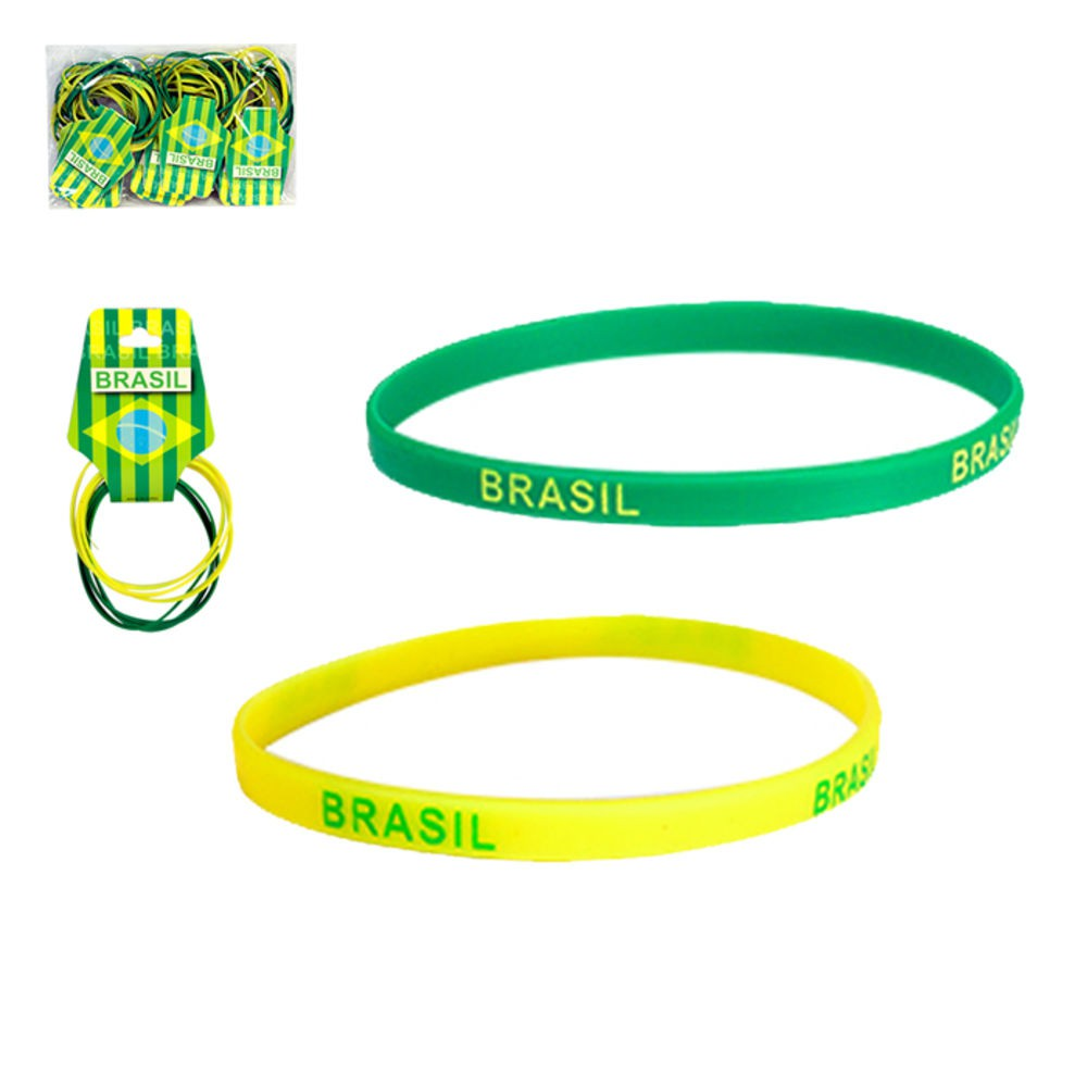 Pulseira Brasil Fina de Silicone C/6