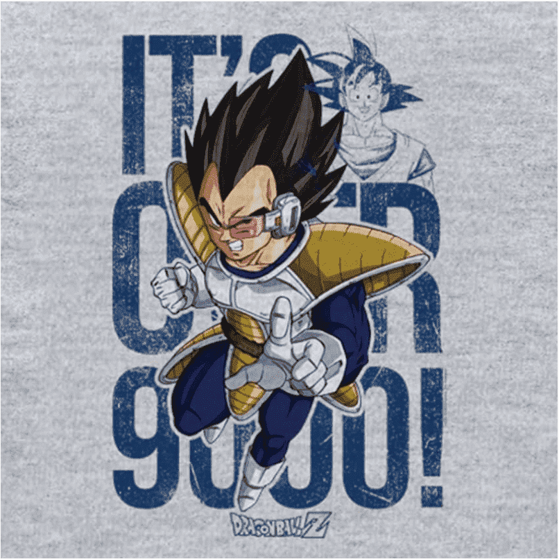 Camiseta Dragon Ball Vegeta It's Over 9000