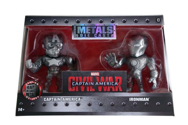 Metals Die Cast Capitão América e Homem de Ferro Cromados