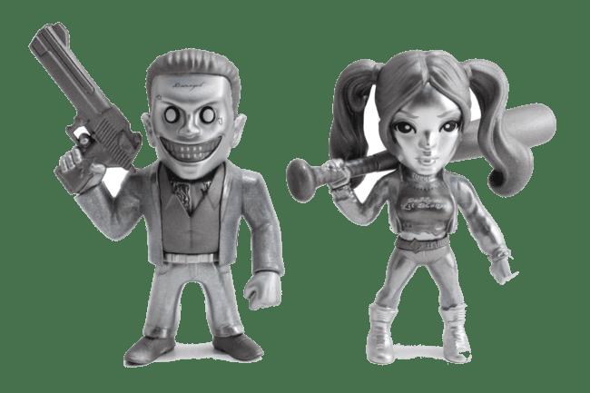Metals Die Cast Joker Boss e Arlequina Cromados