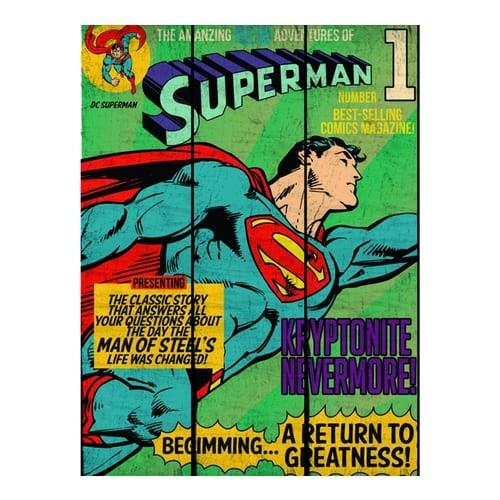 Placa de Madeira DC - Superman Flying