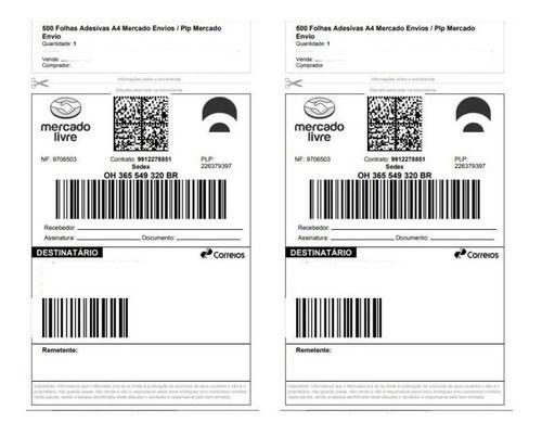 500 Folhas Etiquetas Adesivas Mercado Envios A4