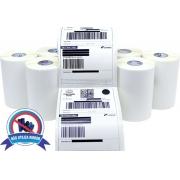 4 Rolos Etiquetas 10x15 100x150 Térmica Serrilha Zebra Elgin
