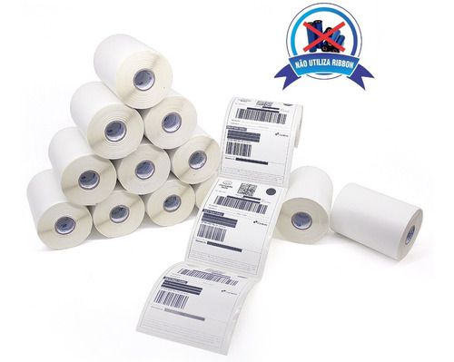 8 Rolos Etiqueta 10x15 Cm Termica Serrilhada Mercado Envios