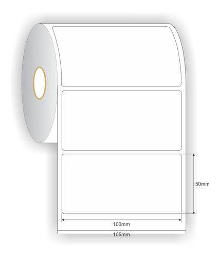 Etiqueta Couche Adesiva 100x50 (mm) 10x5 (cm) Branca