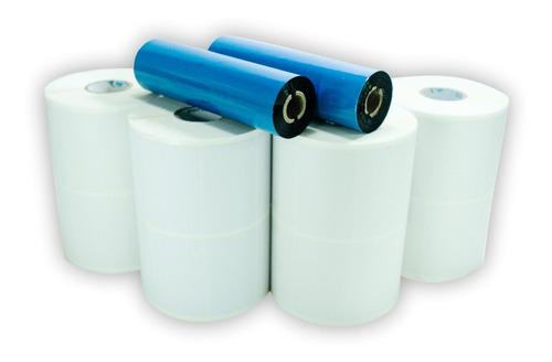 Kit 10 Rolos Etiqueta 50x30 2 Colunas + 5 Ribbons Cera