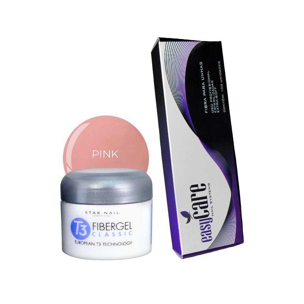 Fibergel Pink 28g + Caixa de Fibras Easy Care (100 unidades)