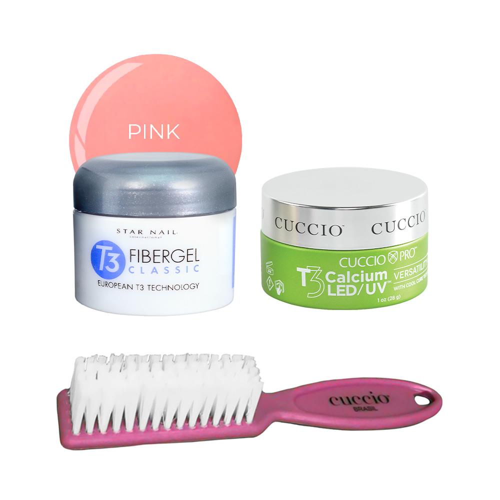 Fibergel Pink 28g + Gel Calcium Led/UV 28g e GANHE uma escovinha Cuccio