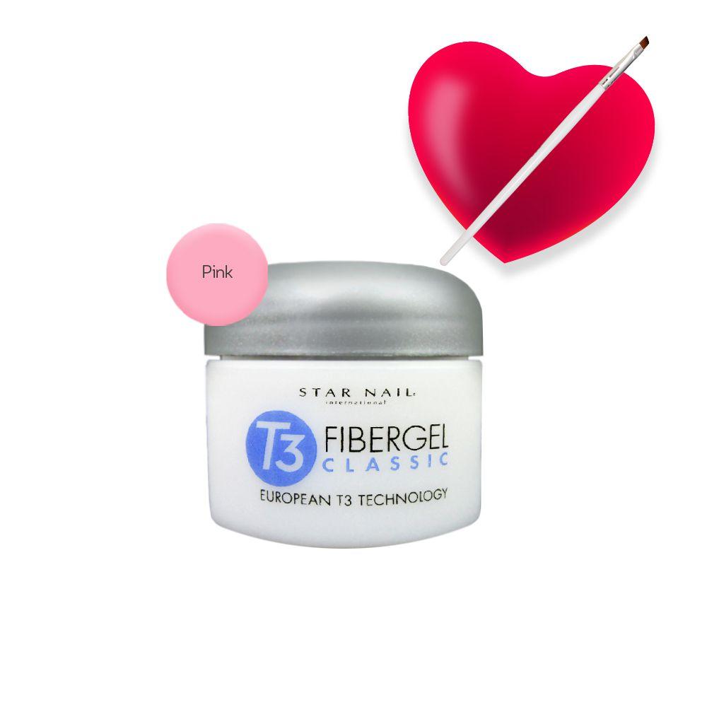Fibergel Pink 56g(961.1) + Pincel para gel chanfrado(0028)