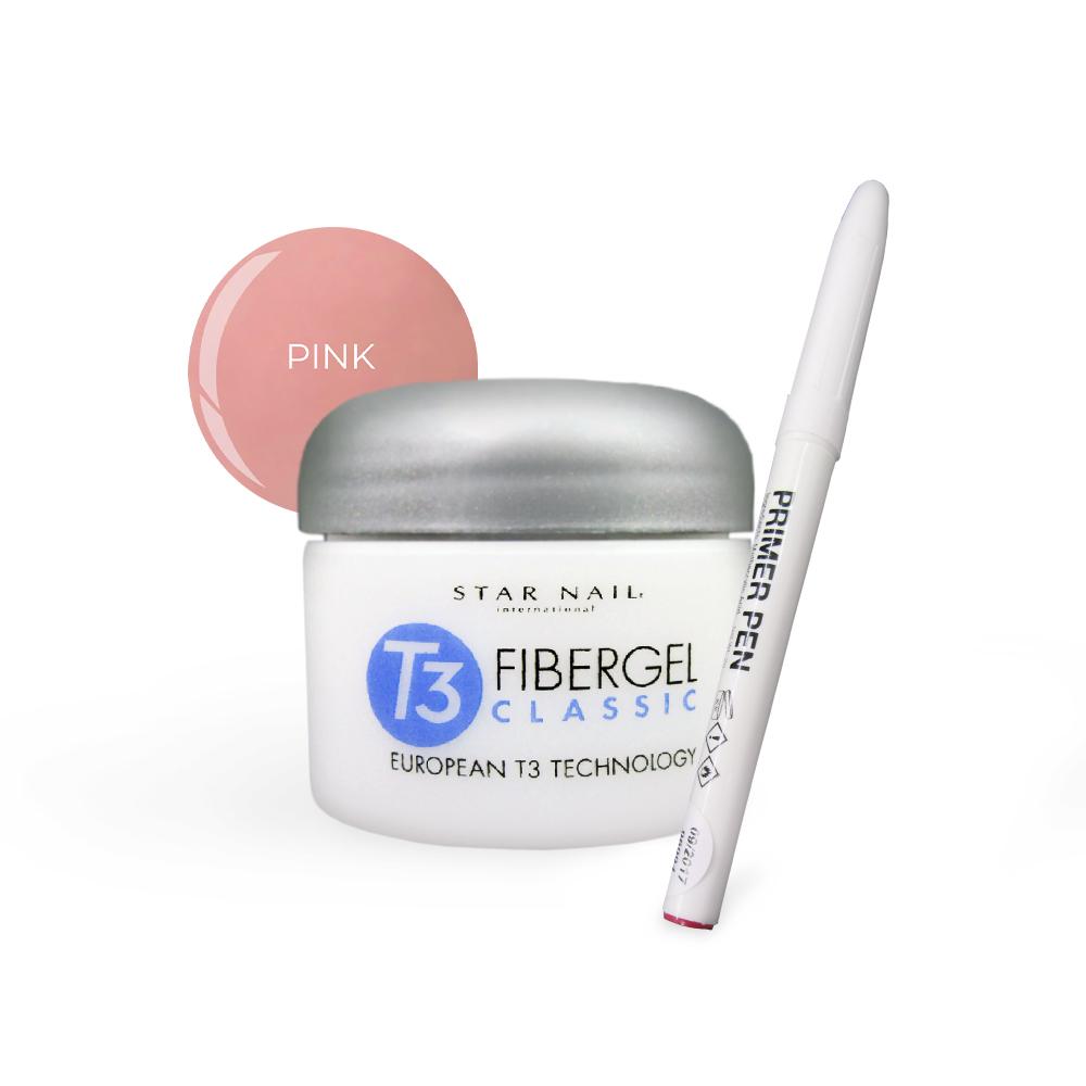 Fibergel Pink 56g + Caneta Primer Cuccio Pro