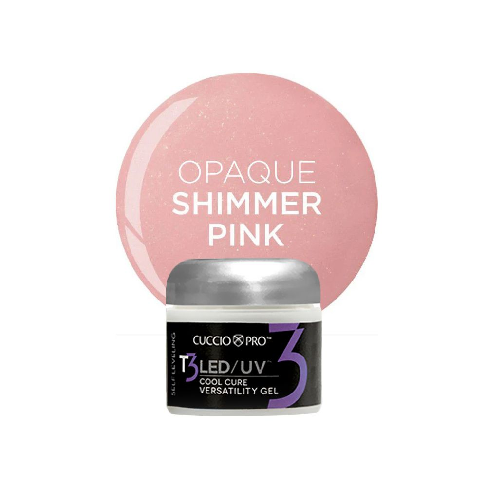 Gel T3 LED/UV Self Leveling 28g -  Cuccio Pro - OPAQUE SHIMMER PINK - 7403