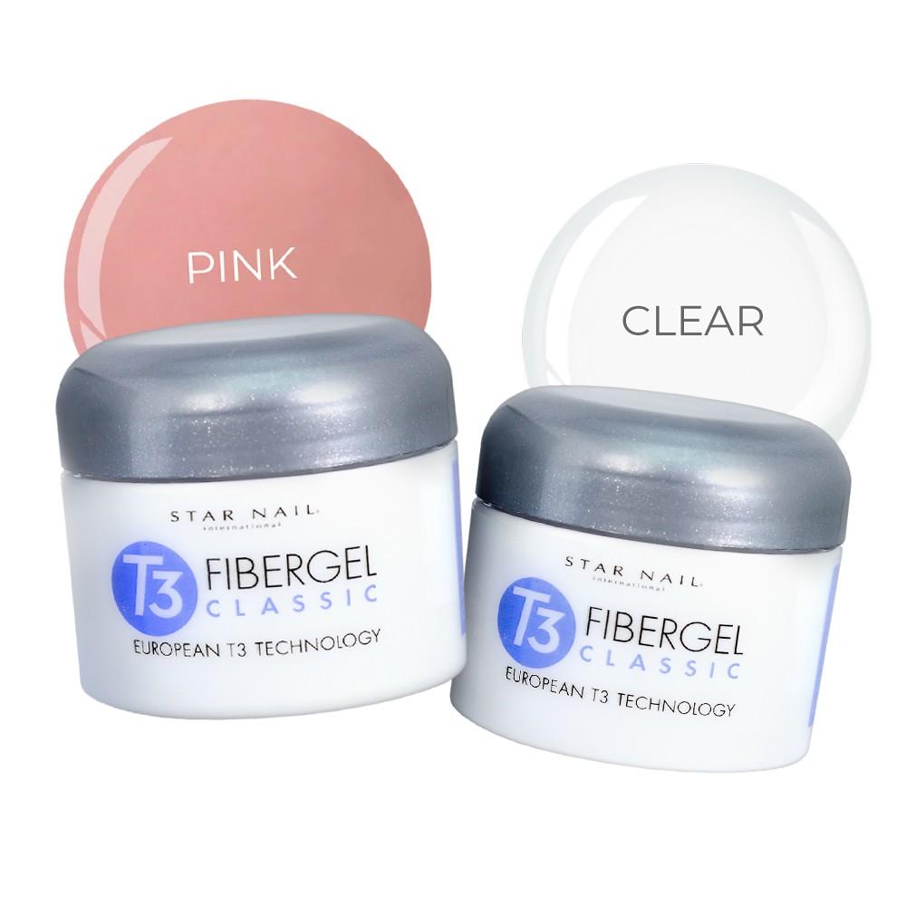 Kit Géis mais vendidos (Fibergel pink 28g + Fibergel clear 28g)
