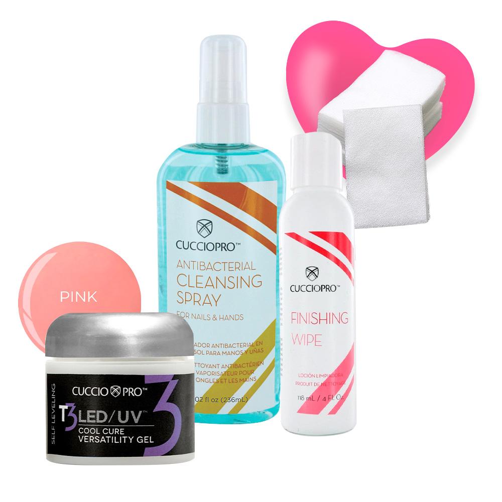 Kit Gel Selfleveling Pink + Cleansing Spray 236ml + Finish Wipe 118ml  e GANHE Algodão prensado