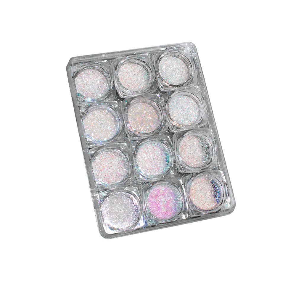 Kit Glitter Especial - BRANCO FINO - C/12 Frascos - DN180-4