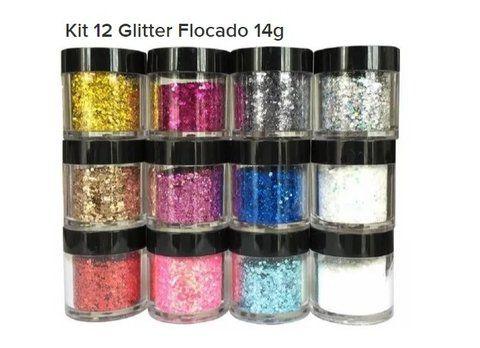 Kit Glitter Flocado - SORTIDOS - Grande C/12 Frascos - DN210
