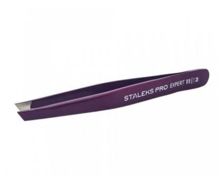 Pinça de Sobrancelha Staleks Pro - TE-11-3- Roxa - Série Expert 11 - Chanfrada Larga