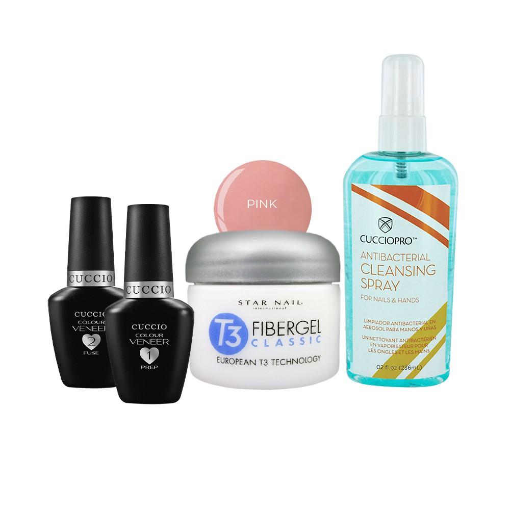 Prep 13ml + Fuse 13ml + Fibergel Pink 28g + Cleansing Spray 236ml