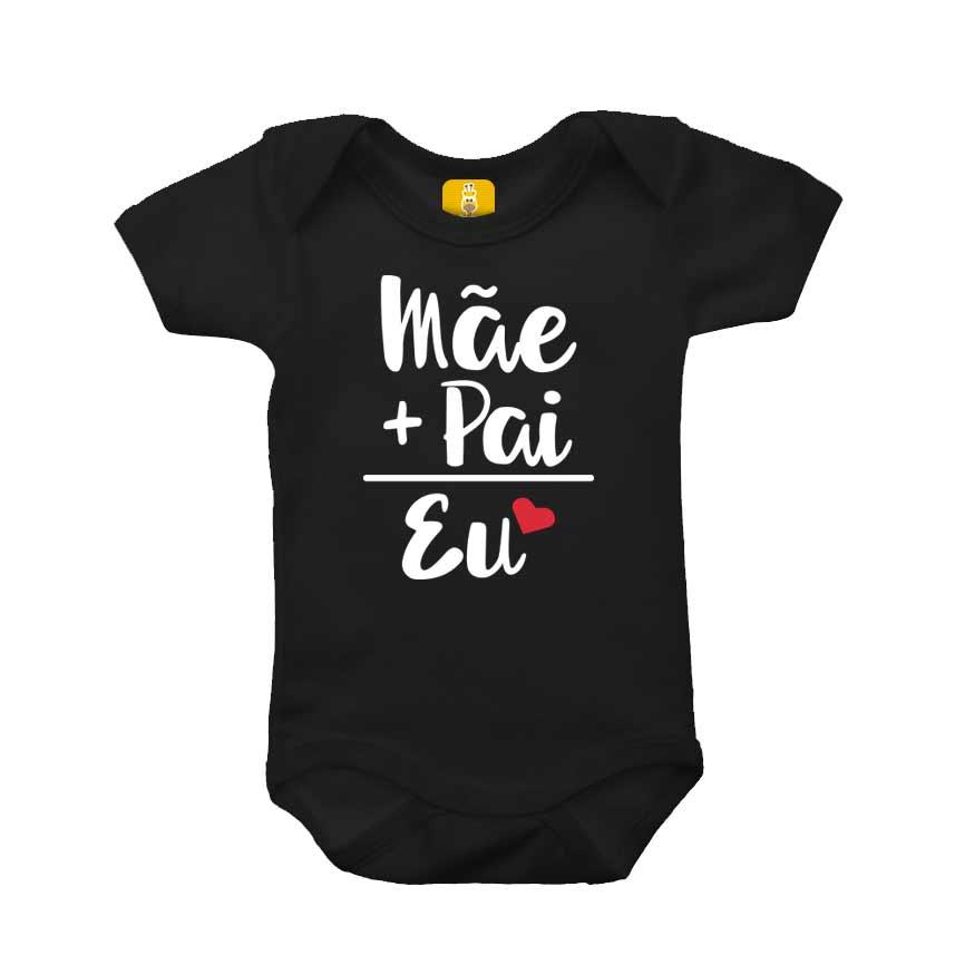 Body bebê - Mãe, Pai e eu preto