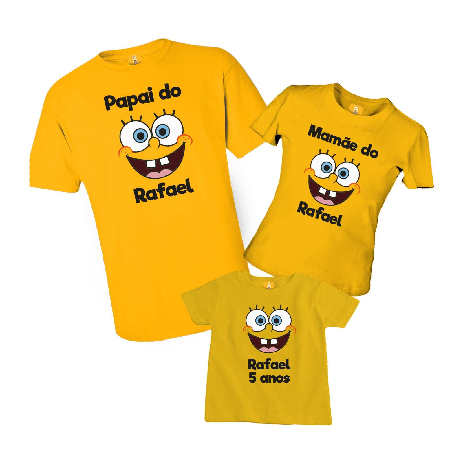 Camiseta Aniversário Bob Espoja com 3 peças