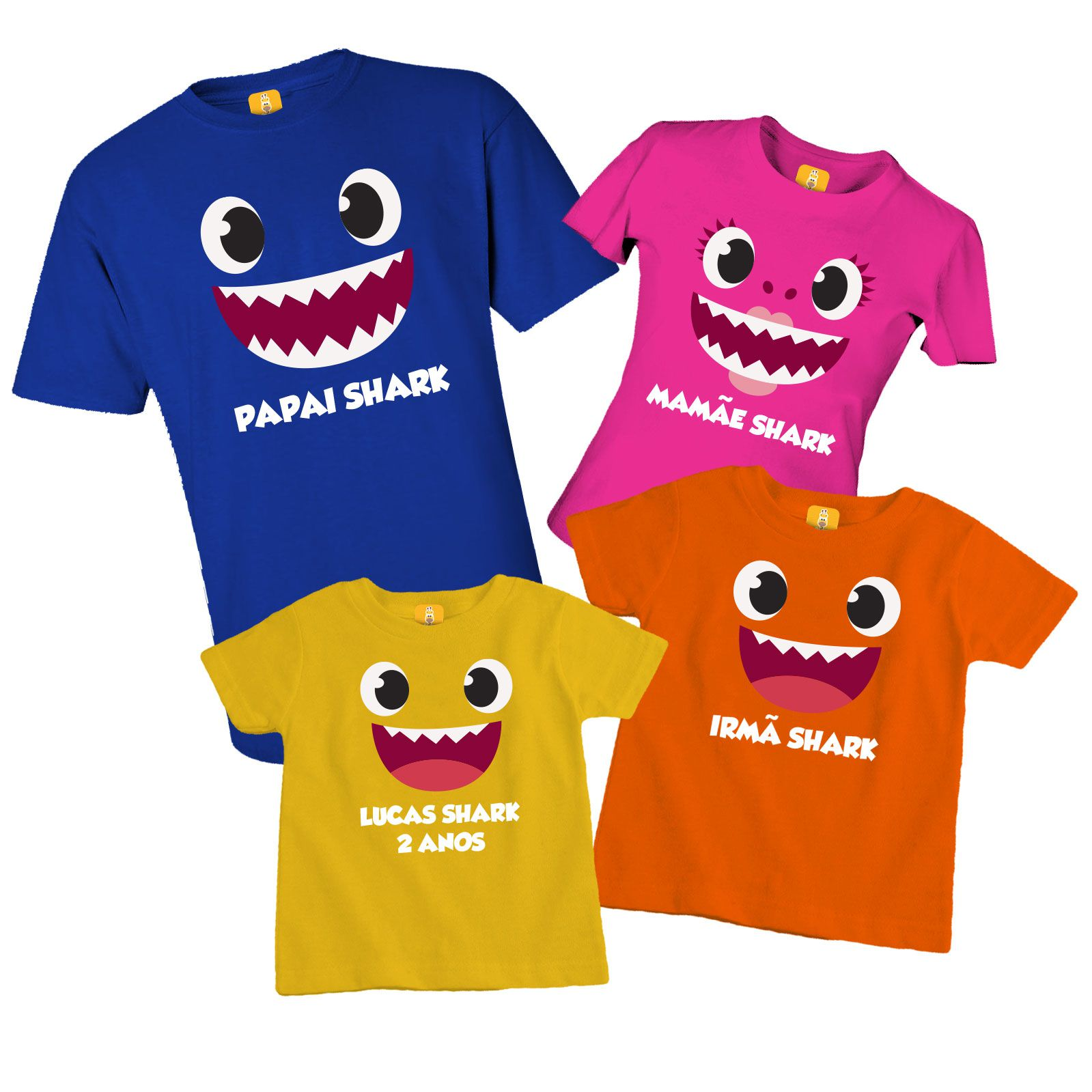 Camiseta baby shark família - 4 Peças