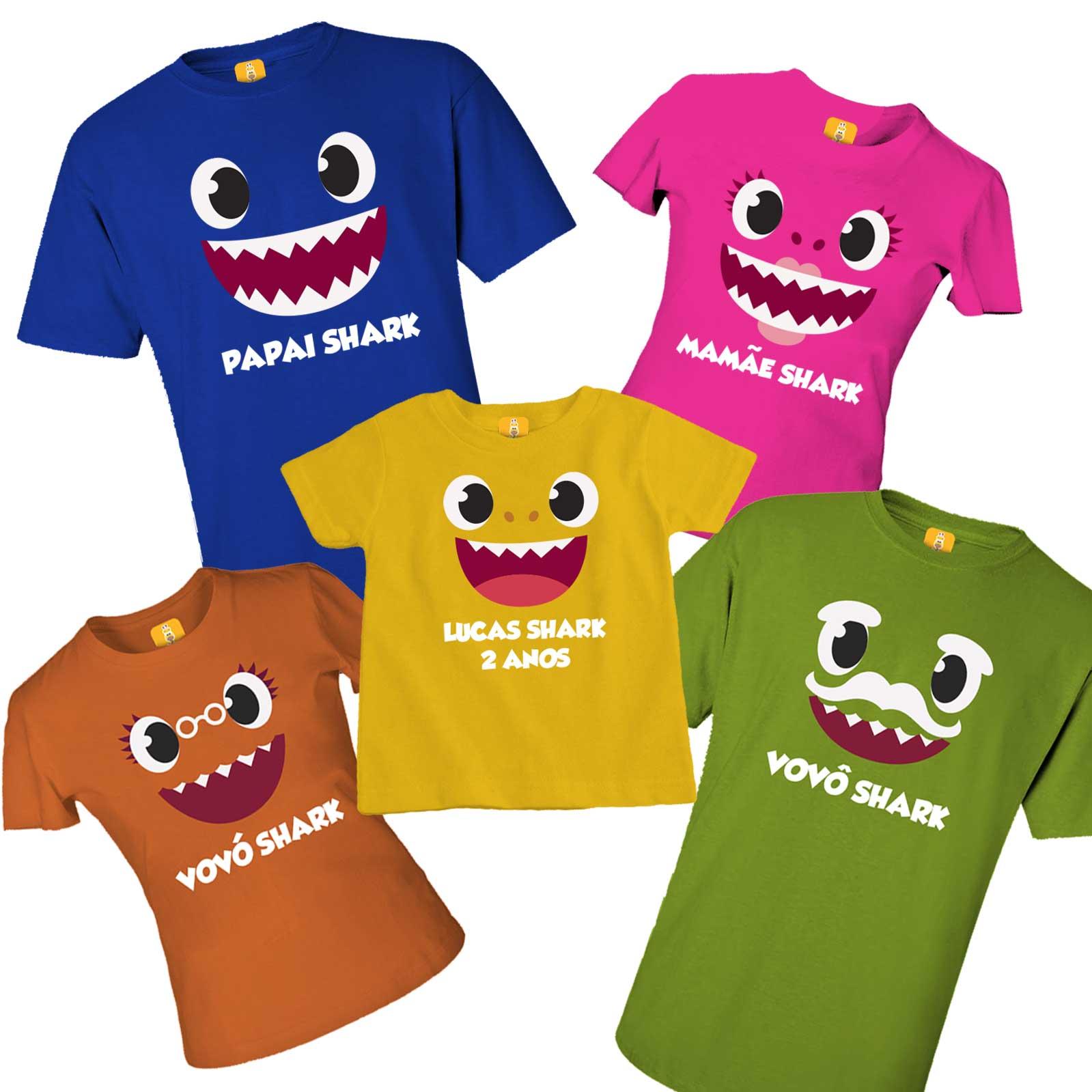 Camiseta Baby Shark família com 5 peças