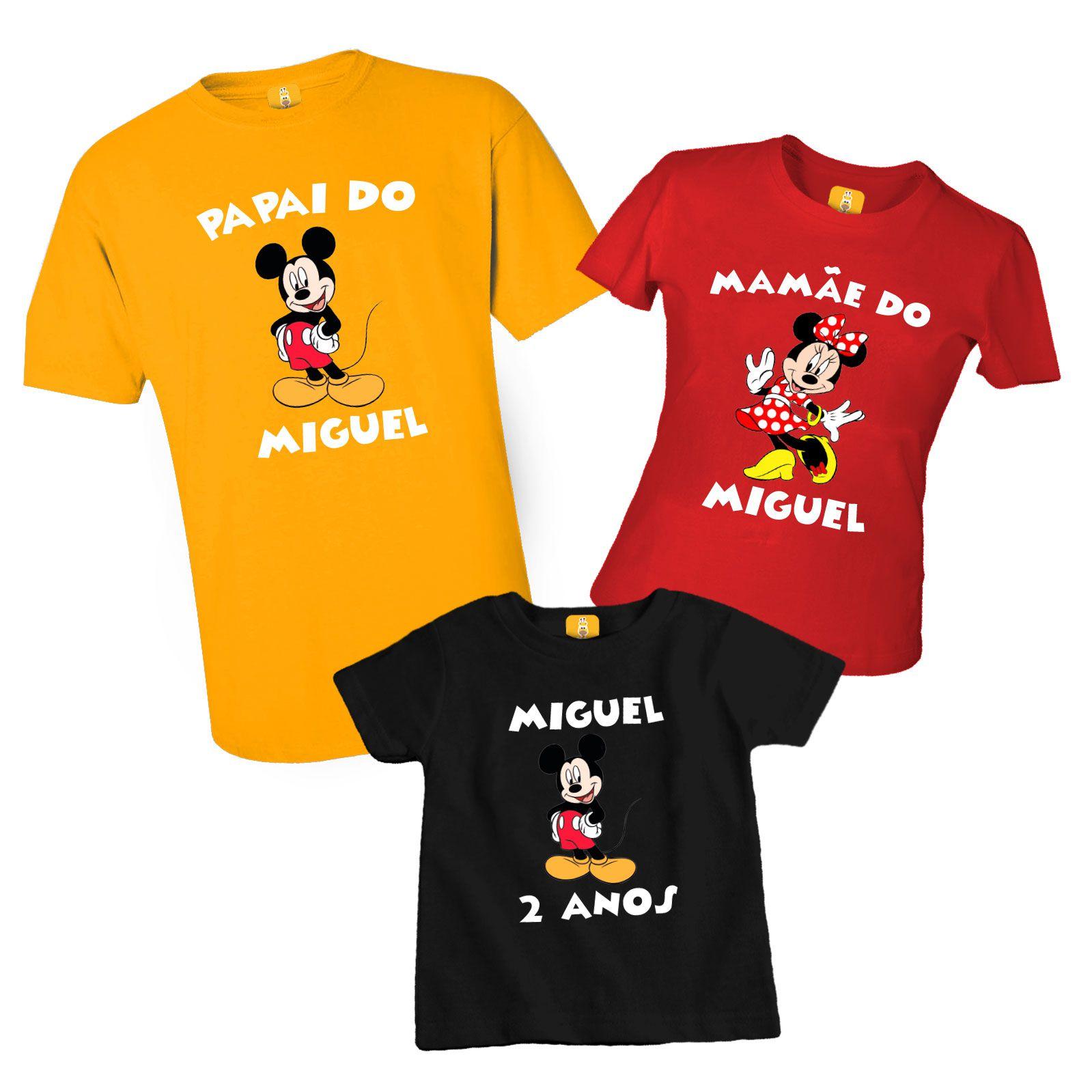 Camiseta para aniversário do Mickey e Minnie