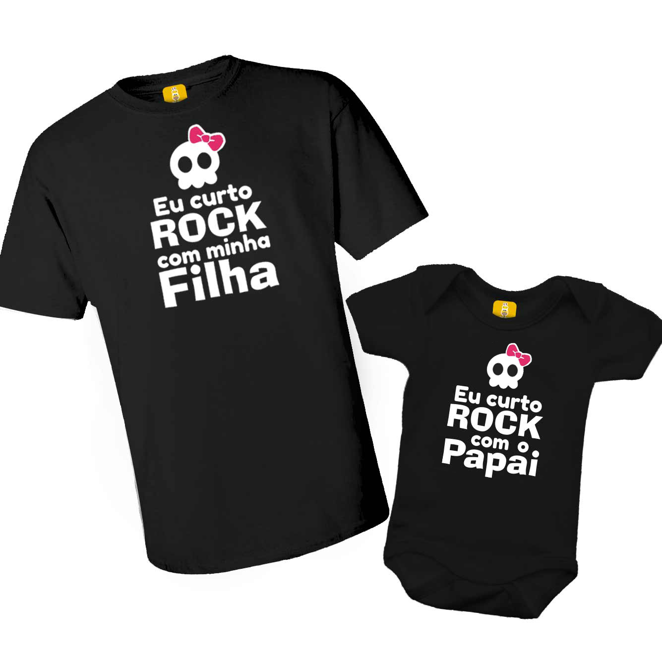 Kit Body e Camiseta - Eu curto Rock com o Papai - Caveirinha