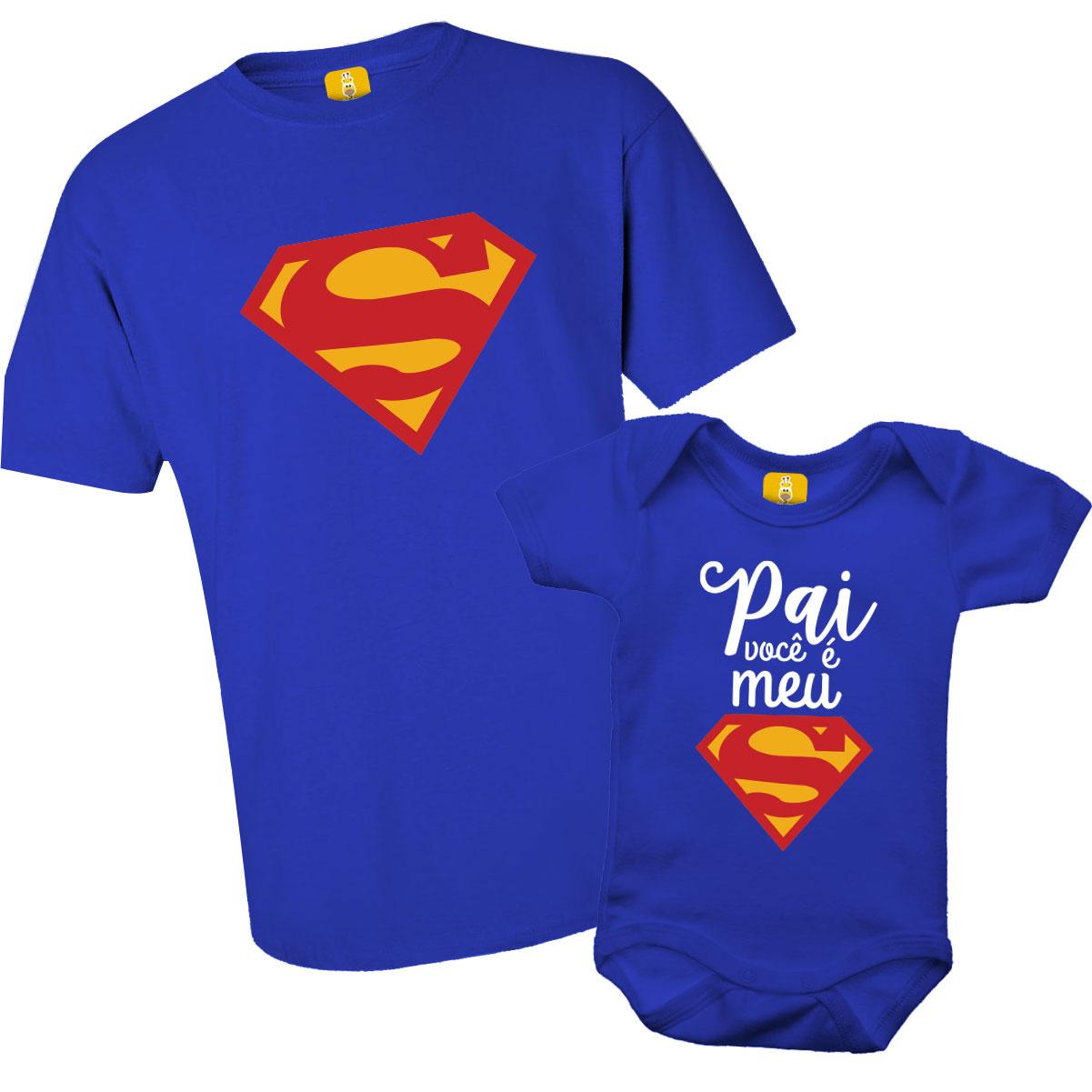 Kit Body e Camiseta - Pai você é meu Superman - Estampa Colorida