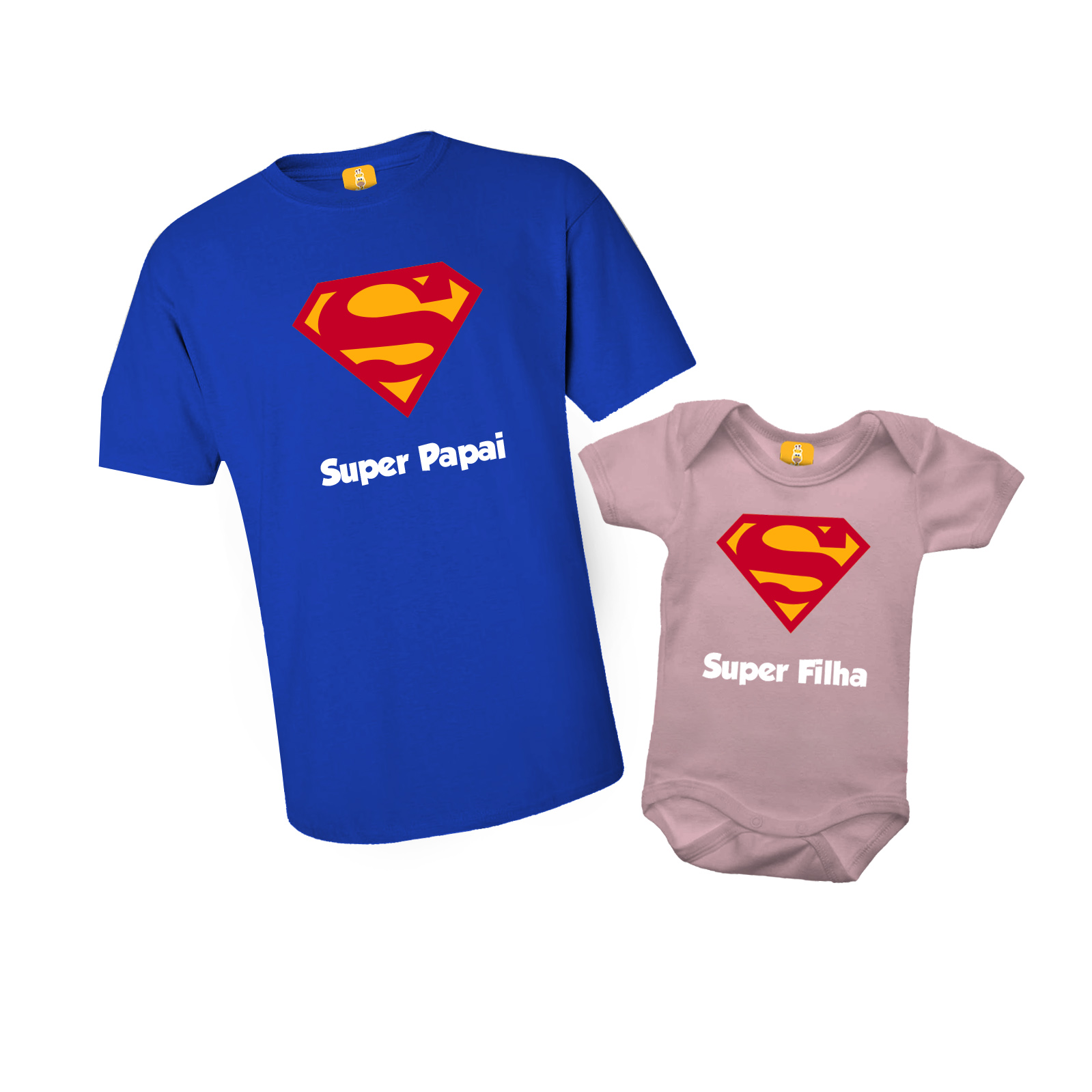Kit Body e Camiseta - Super Papai e Super Filha - SUPERMAN