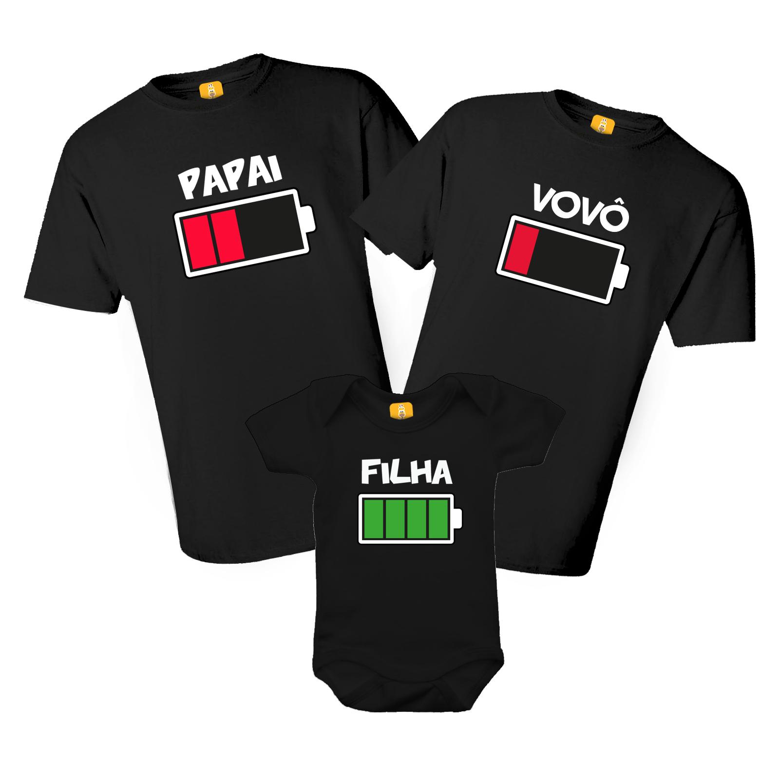 Kit Body e Camiseta - Tal Avô Tal Pai Tal Filha - Bateria