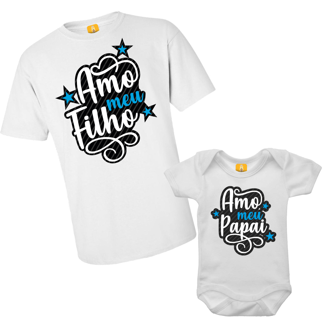Kit Body e Camiseta - Tal Pai Tal Filha - Amo meu Papai - Branco