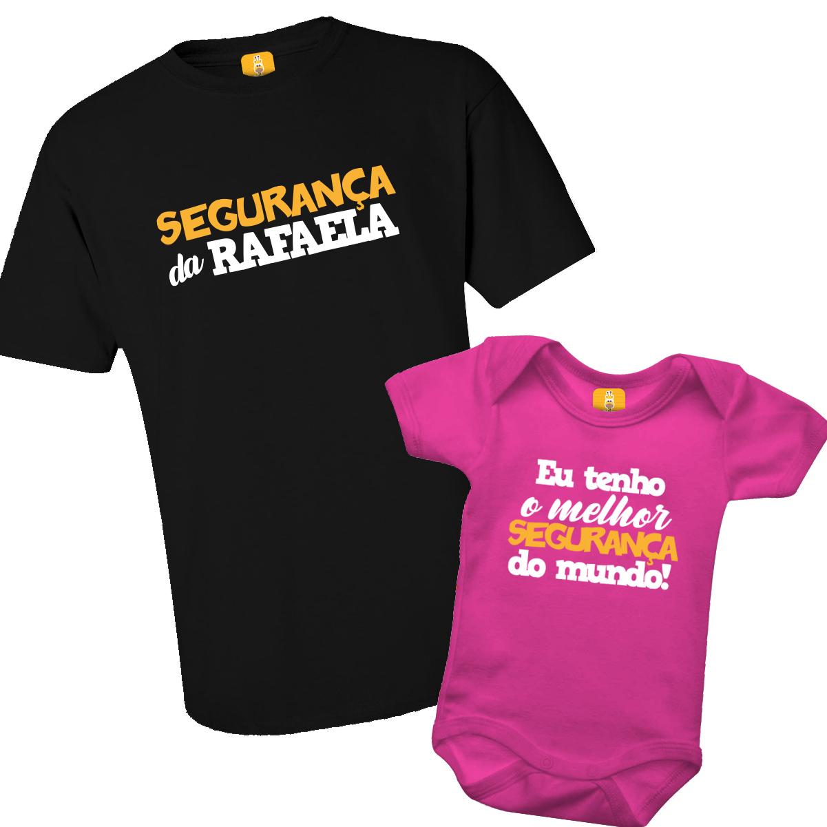Kit Body e Camiseta - Tal Pai Tal Filha - Papai Segurança - Pai de Menina