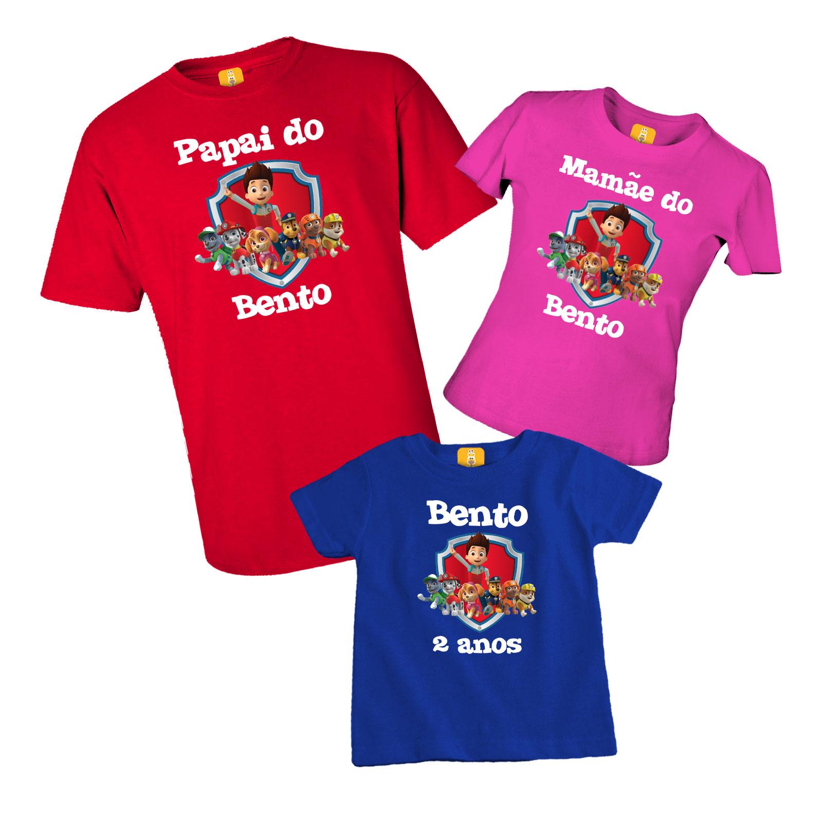 Kit Body e Camiseta da Patrulha Canina - 3 Peças