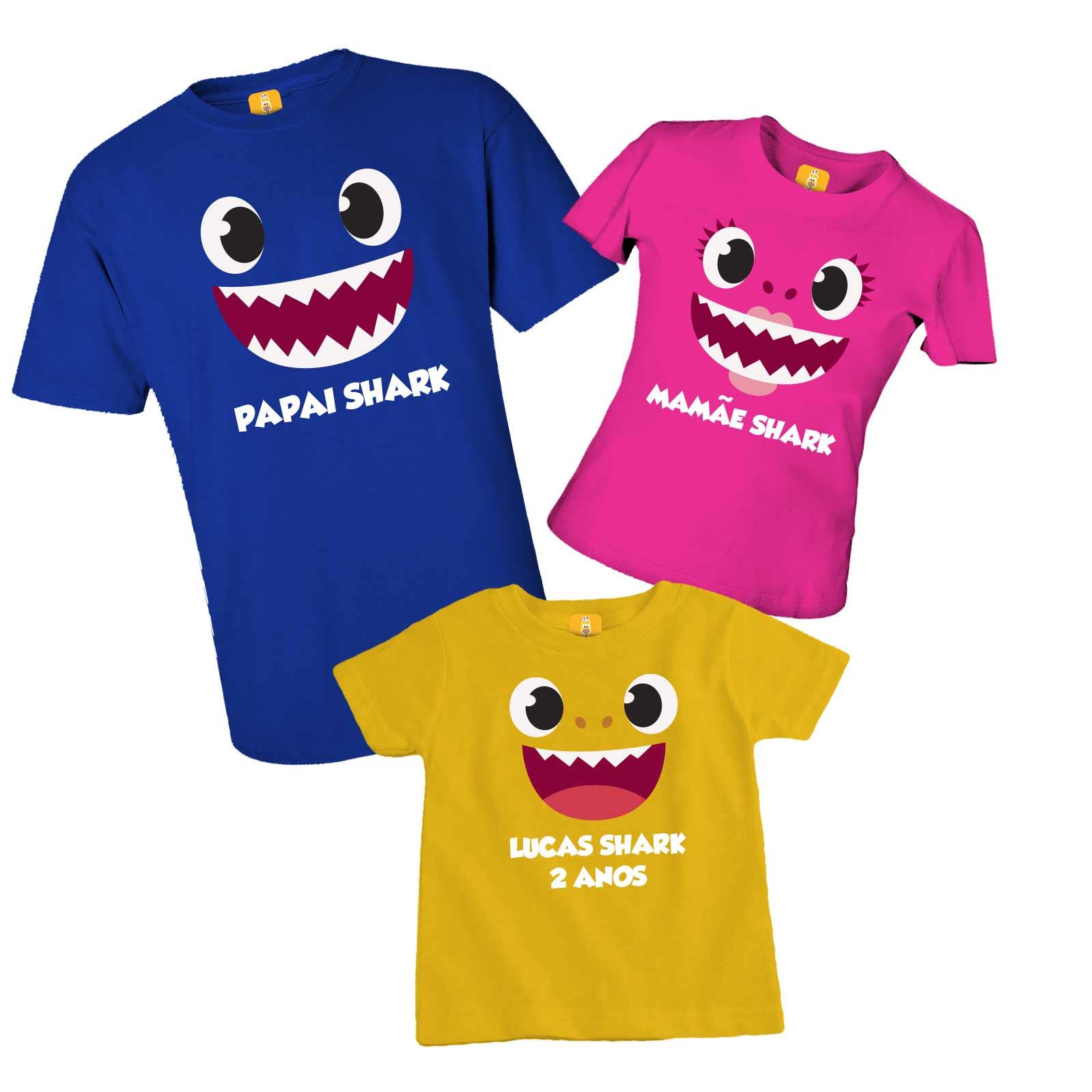 Kit camiseta de aniversário com 3 peças - Baby shark