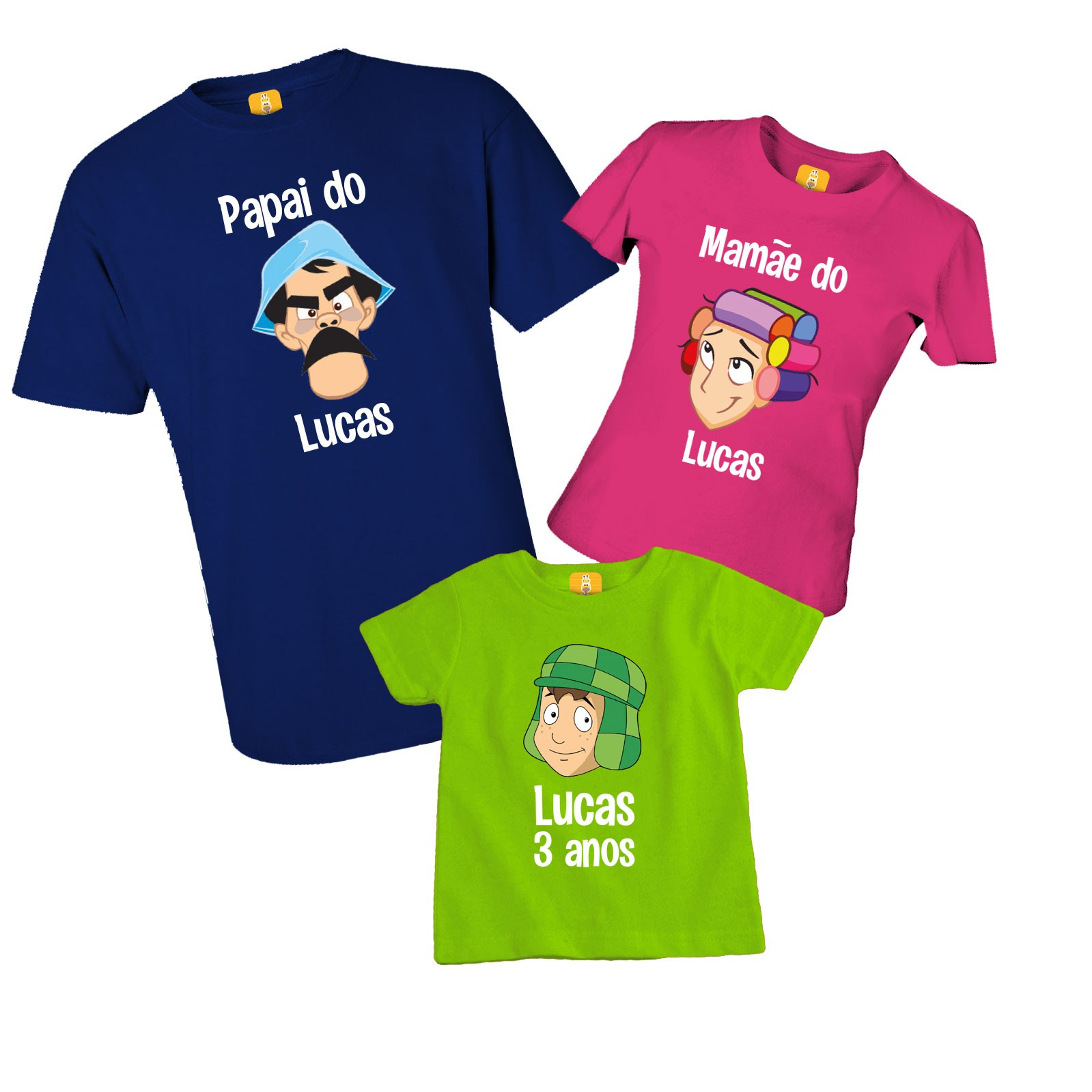 Kit camiseta de aniversário da Turma do chaves com 3 peças